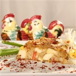 Crabmeat Bake Special Recipe - A baked crab casserole with eggs and onions.