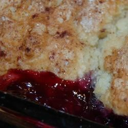 Very Best Blueberry Cobbler! Recipe - The very best blueberry cobbler recipe I've found! A cakey biscuit topping with a slight crunch on top, and delicious blueberries hidden on the bottom. The perfect summer treat.