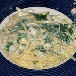New Year Spinach Fettucine with Scallops