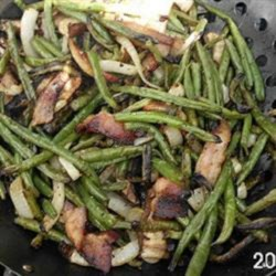 Grilled Fresh Green Beans Recipe - Fresh green beans are grilled with onions, bacon, and mushrooms for a savory side dish on summer grilling nights.