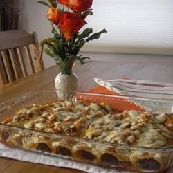 Shredded Beef Enchiladas Recipe - Corn tortillas filled with shredded beef, sour cream, onion, green chilies, then covered with Monterey Jack cheese and baked. This recipe freezes well.