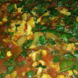 Spinach and Cauliflower Bhaji