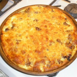 Sausage Brunch Casserole Recipe - This yummy sausage, cheese and egg bake will warm you up when it's cold and fill you up when you're hungry!