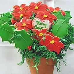 Pointsettia Cookie Bouquet