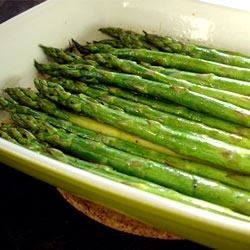 Baked Asparagus with Balsamic Butter Sauce Recipe - Fresh asparagus is baked until tender, and dressed with a blend of butter, soy sauce, and balsamic vinegar.