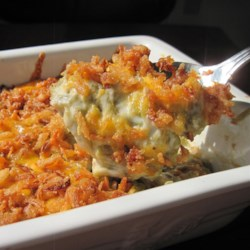 Best Green Bean Casserole Recipe - This great variation of the traditional green bean casserole is topped with French fried onions and Cheddar cheese.
