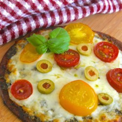 Lazy Girl Pizza Margherita Recipe - Four ingredients are all you need to make this quick and easy pita pizza with pesto and mozzarella cheese.