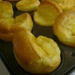 Quick and Easy Yorkshire Pudding Recipe and Video - Just eggs, milk and flour, baked in muffin cups with melted butter -- a dozen easy Yorkshire puddings.