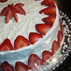 Strawberry Dream Cake I Recipe - Pudding like strawberry cake with a decadent white chocolate frosting.