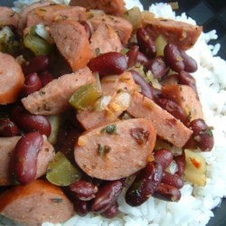 Authentic Louisiana Red Beans and Rice Recipe - I grew up in Louisiana and love red beans and rice, these are just like I remember - red beans made with Cajun seasonings and andouille sausage. This is a great Sunday supper.