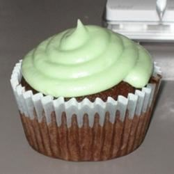 Chocolate cupcake with mint buttercream frosting