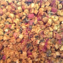 Bacon, Mushroom, and Oyster Stuffing Recipe - I could never find the right oyster stuffing recipe, so I made my own with bacon, onion, mushrooms, and oysters. It is great with grilled turkey.