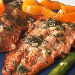 Marinated Wild Salmon Recipe - Featuring a marinade of cilantro, white balsamic vinegar, lemon juice, sugar, and garlic, this salmon is sensational grilled or broiled.