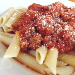 Tami's Red Sauce: Bolognese Tomato Sauce with Ground Beef Recipe - This Bolognese-style red pasta sauce is a crowd-pleaser, takes next to no effort, and can be made with fresh or dried herbs.