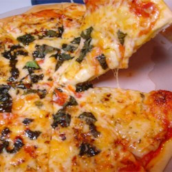 New York Style Pizza Recipe - This is a no frills New York Pizza with heaps of mozzarella cheese and fresh basil. Use it as a base and add your favorite pizza toppings if you wish.