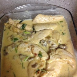Chicken with a Creamy Marsala Sauce Recipe - Pan-fried chicken simmers in a creamy Marsala sauce in this quick recipe.