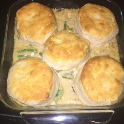Chicken, Cheese, and Biscuits Recipe - A melange of Cheddar, chicken, mushrooms and green beans is capped with flaky buttermilk biscuits for a yummy all-in-one meal.