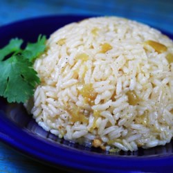 Kickin' Rice Recipe - Bring extra flavor to a simple rice side dish by using chicken broth instead of water and adding green chile peppers.