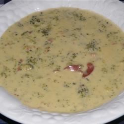 Broccoli Cheese Soup VIII Recipe - Processed cheese and half-and-half are microwaved then thickened with cornstarch before steamed broccoli is introduced to this quick, creamy soup.