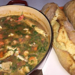 Russell's Fish Stew Recipe - Nice hearty seafood stew, perfect for those cold winter days. Serve with sliced French bread.