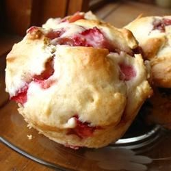 Strawberry Muffins Recipe - Strawberry muffins that can be made with fresh or frozen strawberries. If using frozen berries,  thaw slightly, then chop with a knife.