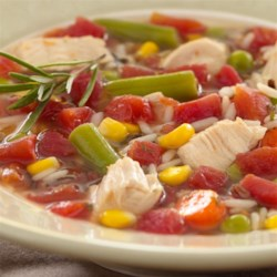 Turkey Rice Soup Recipe - This soup is a quick and tasty way to use your turkey leftovers. The convenience of using frozen vegetables makes preparation a snap, and the low calories offer a healthy benefit.