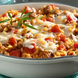 Quick Italian Skillet Dinner Recipe - Combine Italian sausage with peppers, onions, diced tomatoes, vegetable juice and rice for a meal that is better than anything you'd make from a box!