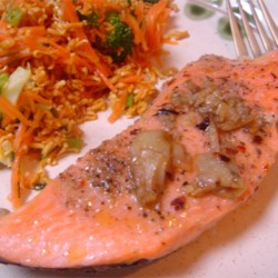 China Moon Salmon Recipe - You'll love the intense flavor of Asian ingredients that infuses this oh-so-easy salmon dish. And, the salmon is prepared in a steamer so it's healthy too! Serve with steamed rice and stir-fried vegetables.