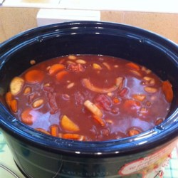 Hearty Slow Cooked Beef Stew Recipe - Use canned new potatoes and tomato sauce with stew meat, bouillon cubes, carrot, and onion to make this beef stew in the slow cooker.
