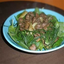 Hot Chicken Liver and Fennel Salad Recipe - Fennel, which has a sweet licorice flavor, adds an exotic touch to this warm salad.