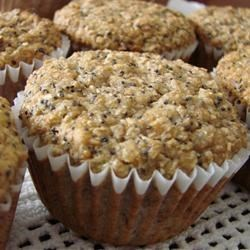 Poppy Seed and Banana Muffins Recipe - Mashed bananas and poppy seeds are mixed with whole wheat flour and wheat bran in these wonderful, hearty muffins.