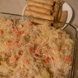 Grandma Nena's Lumpia and Pancit Recipe - This is my grandma's lumpia and pancit recipe that she has been making since before the family moved to the U.S. when my dad was a child. This is very popular with both family and friends. As soon as my friends in high school discovered my grandma was in town, my house became THE place for lunch!