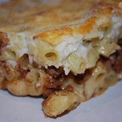 Pastitsio II Recipe - An amazing baked pasta dish combining a meat sauce and a cream sauce with a cheesy top.