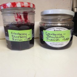 Festive Fresh Blueberry and Cranberry Relish Recipe - Blueberries add a new spin to the traditional cranberry relish.