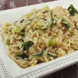 Bok Choy Steamed Rice Recipe and Video - Chef John livens up plain steamed rice with bok choy, sesame oil, and soy sauce.