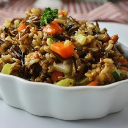 Wild and Brown Rice Recipe - This hearty pilaf, made with wild and brown rice, carrots, celery, onion, and herbs, makes an excellent side dish with game birds. It can be prepared ahead of time and microwaved just prior to serving.