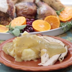 Simple Turkey Gravy Recipe - Homemade turkey gravy is simple to prepare when using leftover drippings and turkey stock and is a delicious addition to Thanksgiving dinner.