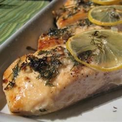 Salmon with Lemon and Dill Recipe - A wonderfully simple recipe for baked salmon. The flavors of lemon and dill really complement the fish.
