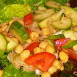 Chickpea Salad Recipe - A simple and delicious salad of chickpeas (garbanzo beans), onions, cucumber, tomato and vinegar.