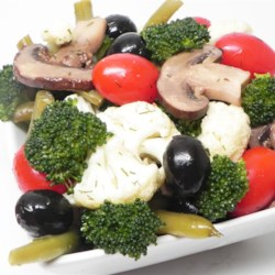Marinated Vegetable and Olive Salad Recipe - This bright, crisp combination of marinated vegetables is perfect for summer!