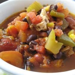 The Best Vegetarian Chili in the World Recipe and Video - Break out your soup pot and fix up a batch of this delicious, spicy vegetarian chili today! It's ready in no time, and packed with vegetables, beans - and flavor!