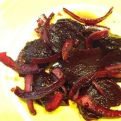 Roasted and Pickled Beets Recipe - Roasted and pickled beets with onion is a sweet and sour salad to serve on summer evenings.