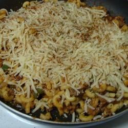 Sloppy Joe Spaghetti Recipe - A tasty, tangy meat sauce is just moments away when you combine ready-made Sloppy Joe sauce with cooked ground beef, green bell pepper and chopped onions. A generous handful of bread crumbs and Cheddar cheese thickens the sauce.