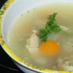 Reinvented Turkey Leftovers Soup Recipe - Reinvent turkey leftovers with this simple method for making turkey soup. Simmer turkey bones with onion, carrots, celery, and herbs for a tasty broth. Just add chopped leftover turkey meat and the soup is ready!