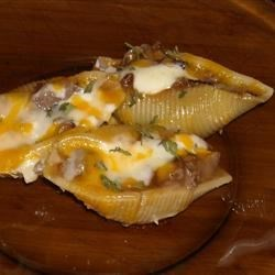 Roast Beef Stuffed Shells Recipe - These roast beef, horseradish, and Cheddar stuffed pasta shells are easy to prepare and always a crowd pleaser.