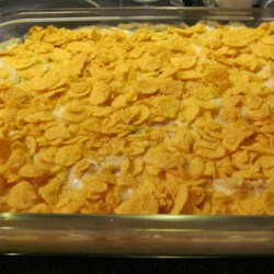 Cornflake Chicken Casserole Recipe - Chicken is baked in a creamy sauce and topped with crunchy cornflakes cereal for a quick and easy weeknight dinner.