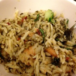 Shrimp Orzo Pesto Recipe - Orzo is tossed with pesto, shrimp, and plenty of seasoning creating a quick Italian-inspired meal perfect for weeknights.