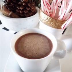 Polar Express Hot Chocolate Recipe - Warm up this winter with a rich cup of hot chocolate made with cream, sweetened condensed milk, and chocolate chips.
