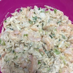 Classic Crab and Shrimp Salad Recipe - A classic seafood combination of crab meat and cooked shrimp is combined with chopped bell pepper, celery, and fresh dill in a simple mayonnaise dressing that lets seafood flavors shine.