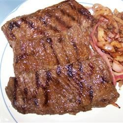 China Lake Barbequed Steak Recipe - There's just something about soy sauce and lemon juice that makes flank steak become moist and flavorful. The longer you marinate the meat, the more tender it gets. Grill and slice on the diagonal, and you have a great meal.